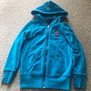 Girls Size 7 Hooded Polo Sweatshirt